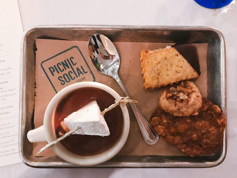 Hot chocolate and cookies from Picnic Social
