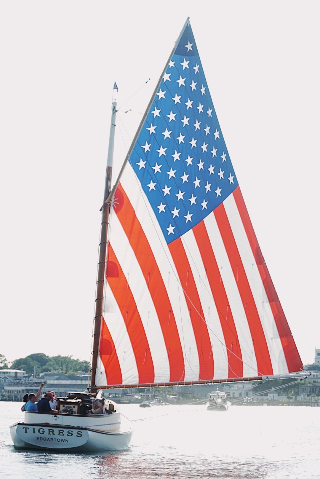 American flag sailboat Martha's Vineyard